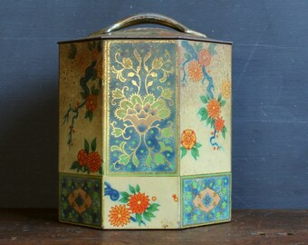 Vintage Tea Tin - Enameled Tin - Floral - Octogon - Kitchen Storage