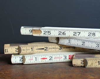 Vintage Lot Wooden Ruler Pieces - Craft Supplies - Collage - Altered Art - Assemblage - Folding Ruler - Project Pieces