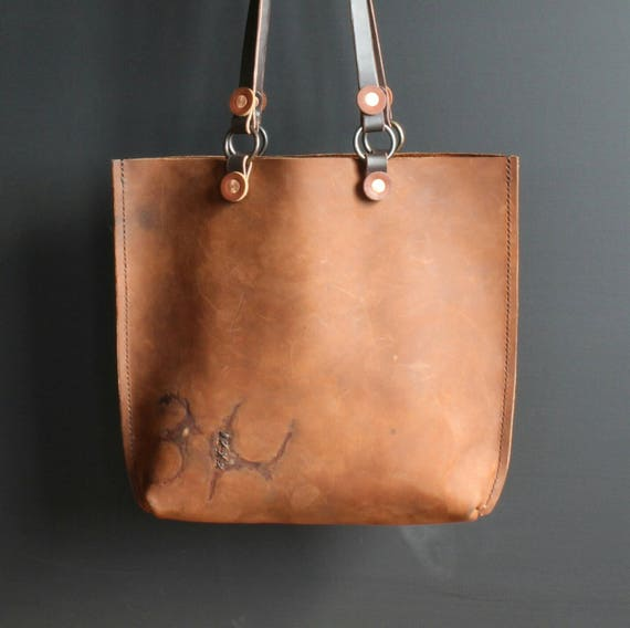 Handmade Leather Tote Bag Solid Bronze Hardware Two Tone  ab5479f93d21b