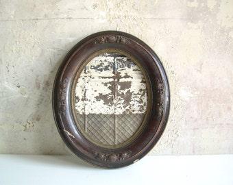 Handmade Magnet Board Oval Antique Frame with Old Tin Ceiling Tile Memo Inspiration Board
