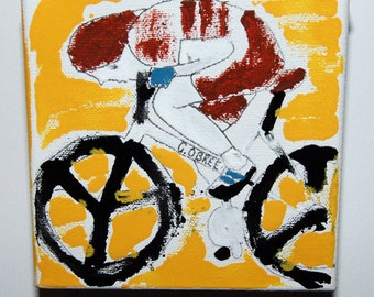 Graeme Obree 'The Flying Scotsman' abstract painting outsider art cycling bike art acrylic canvas velo framed  ciclismo wielersport merckx
