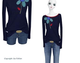 1776ae06cf21 Iza Fabian - manches longues - marine et FLOW - manches longues rouge bleu  marine chemise pull femmes Mesdames rouge bleu fleur fleur