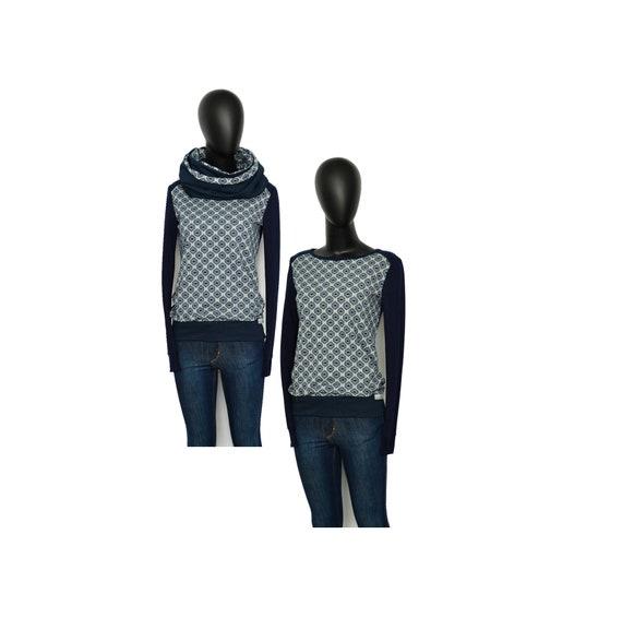 Sweat set-geo-longsleeve hoodie Loop Blue Grey