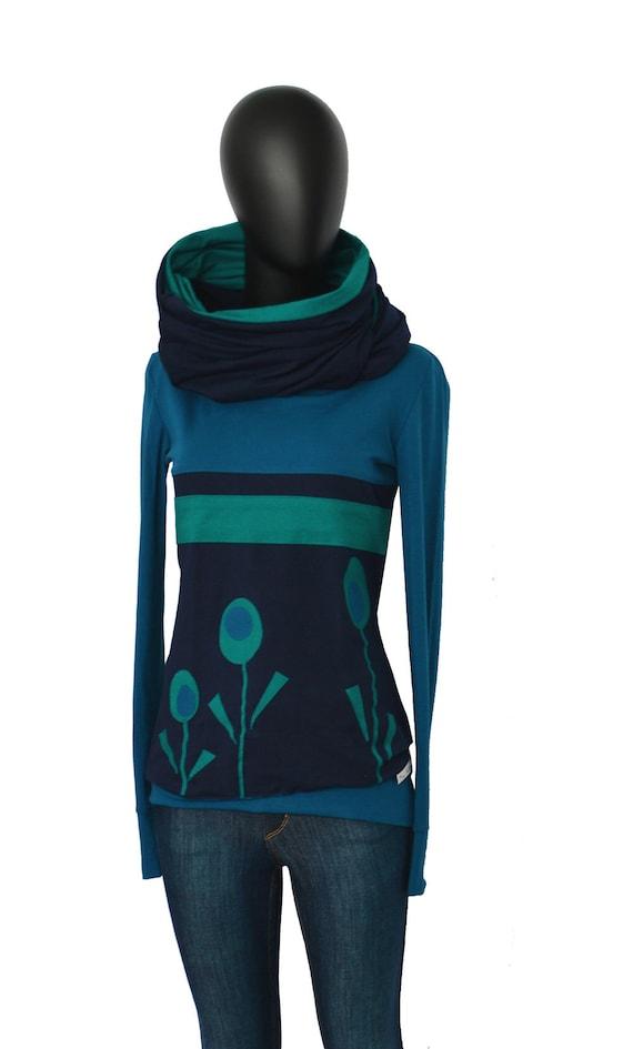 Luxus bestbewertet viele möglichkeiten Hoodie SET longsleeve loop COLx6 petrol blue women blue flower flowers damen