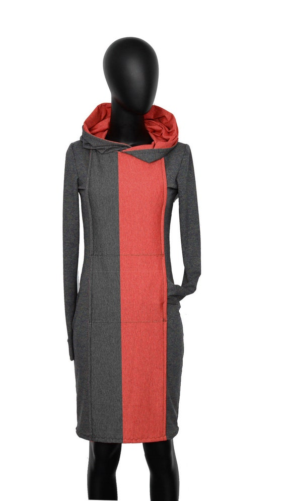 Red Hoodie long Fabian dress dresses Blue Dress women grey sleeve hoodie AP4 Iza red gT71x