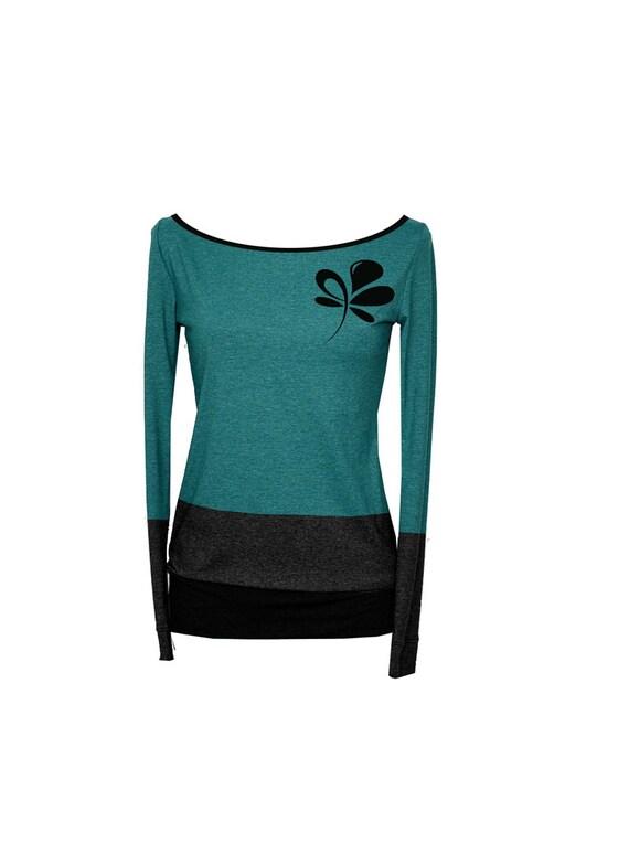 long shirt 3 Flower Longsleeve Petrol sleeve Ladies 0ag88q