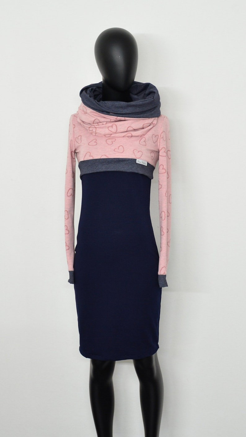 SET KLEID + LOOP Sweat ASA6 blau blue navy dress damen women pink rosa mode designer grau tropfen gray