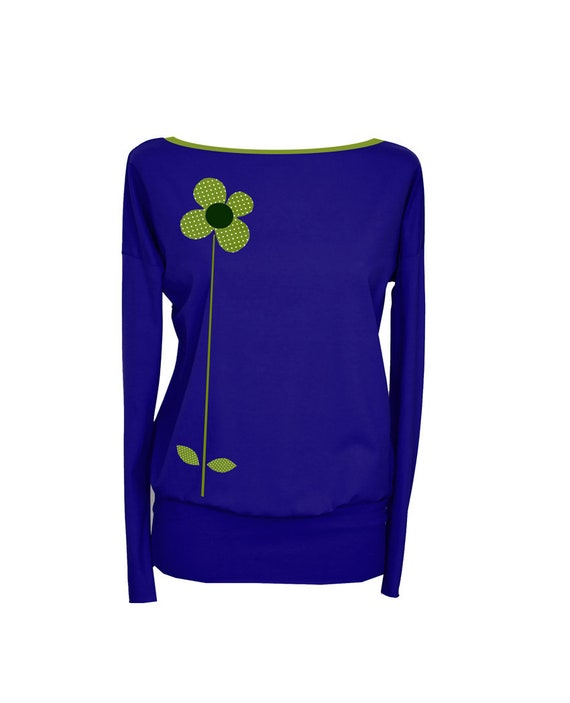 blue sleeve FLOWER1 Longsleeve long shirt Royal dots p65qt