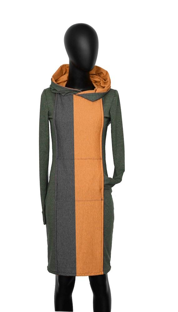 long AP2 Hooded Olive hoodie ocher sleeve Dress qHwEO