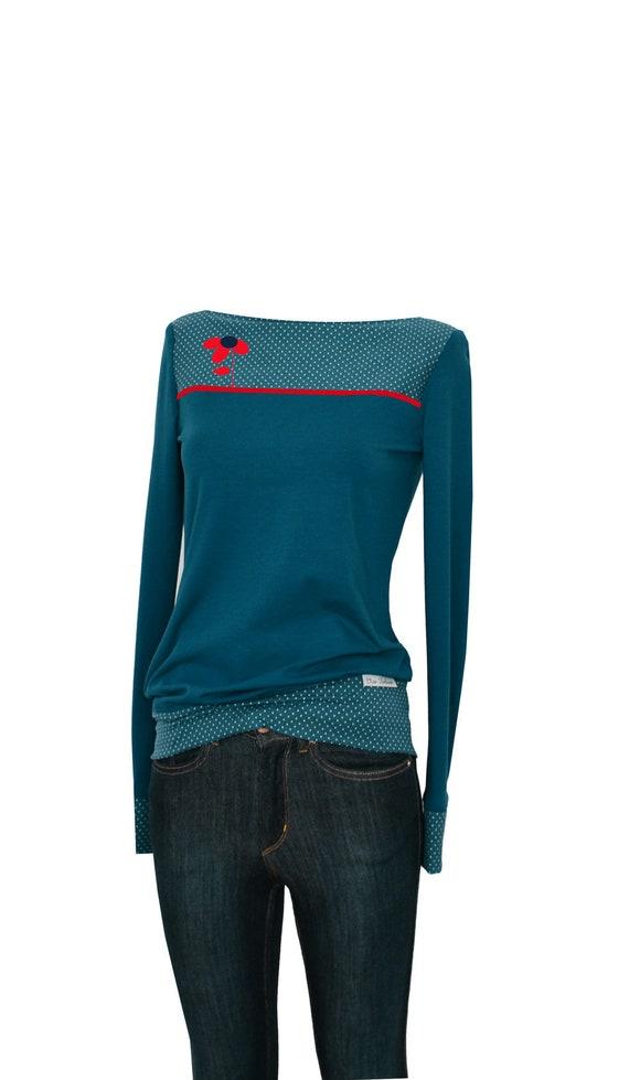 Longsleeve dots CATS8b women's flower Petrol shirt 4Y4qr