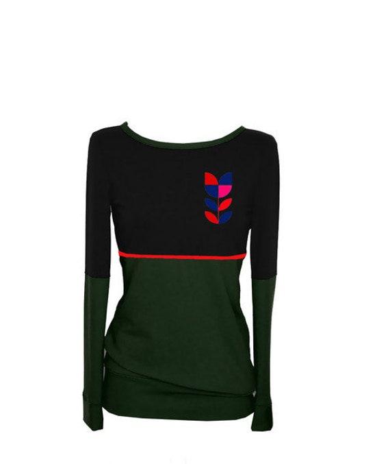 sleeve black sweater long green shirt COLORS1 Fabian flower women women two Iza Longsleeve XwqZax8