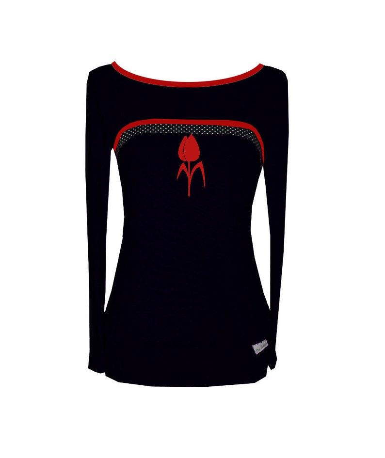Iza Fabian-Long sleeve-color 2-flower long sleeve black red black dots red flower women women