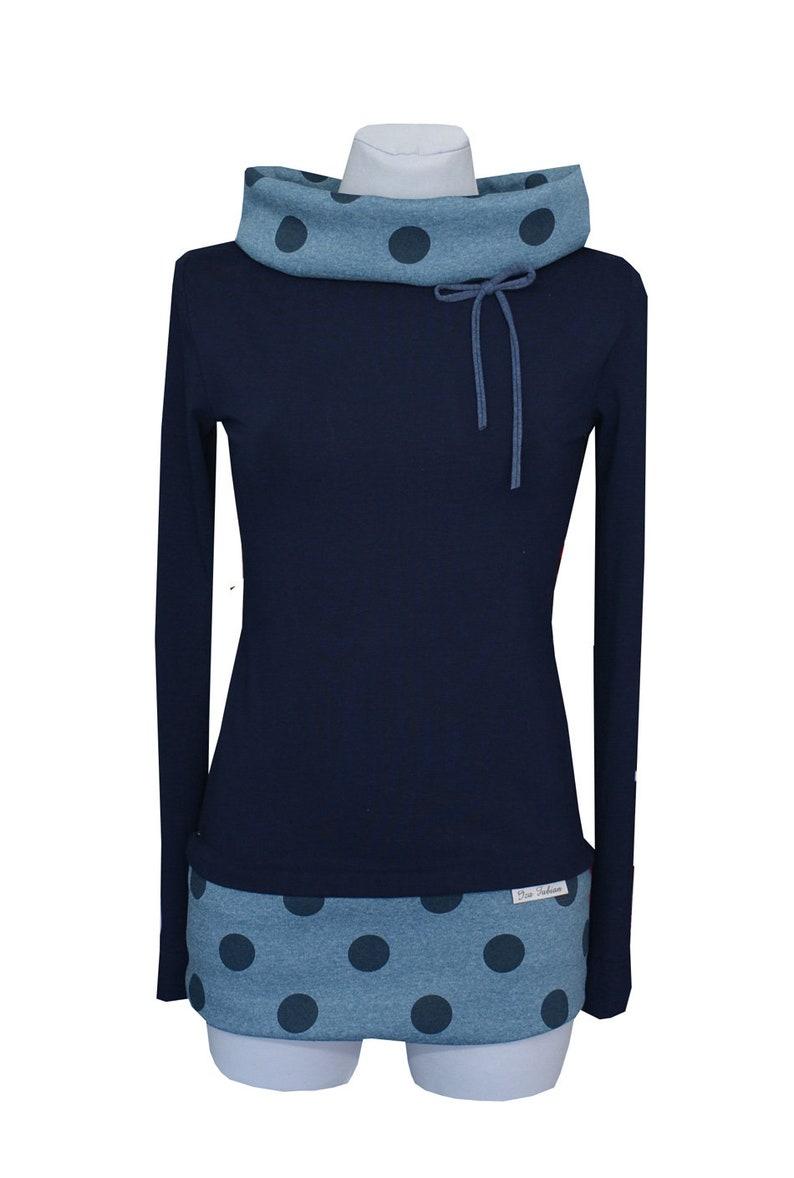Iza Fabian Sweat hoodie gray jeans 2 melange sweater sweater dots points navy ladies women
