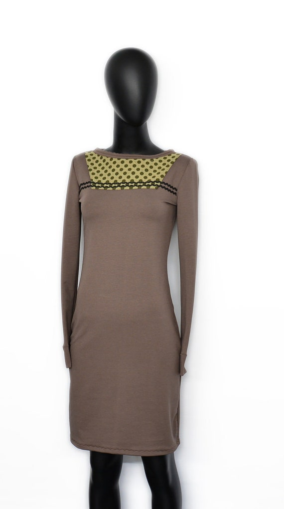 Iza dots dots long brown dress sleeve Women dress beige Fabian May taupe ladies dots FaaAwxB6