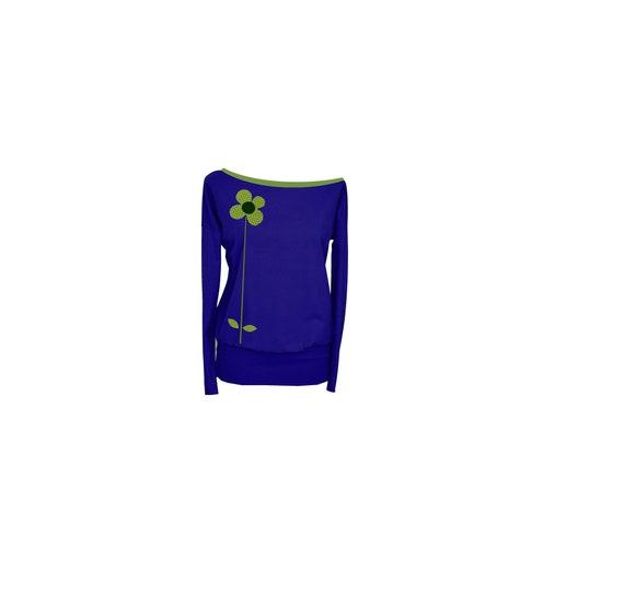 Women shirt Iza flower sleeve blue blue Fabian ladies green BIC3 Longsleeve long wTq7xPFTO