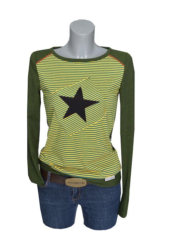 Longsleeve star Green green strips long Longsleeve OYZOqpw