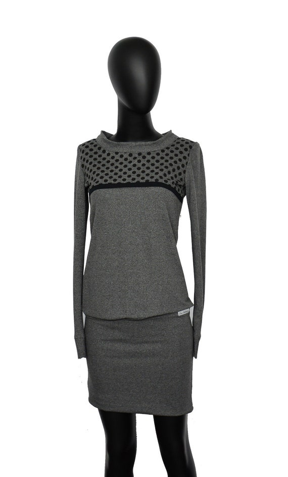 points grey Hoodie aca dress sleeve Set loop long UnwvC