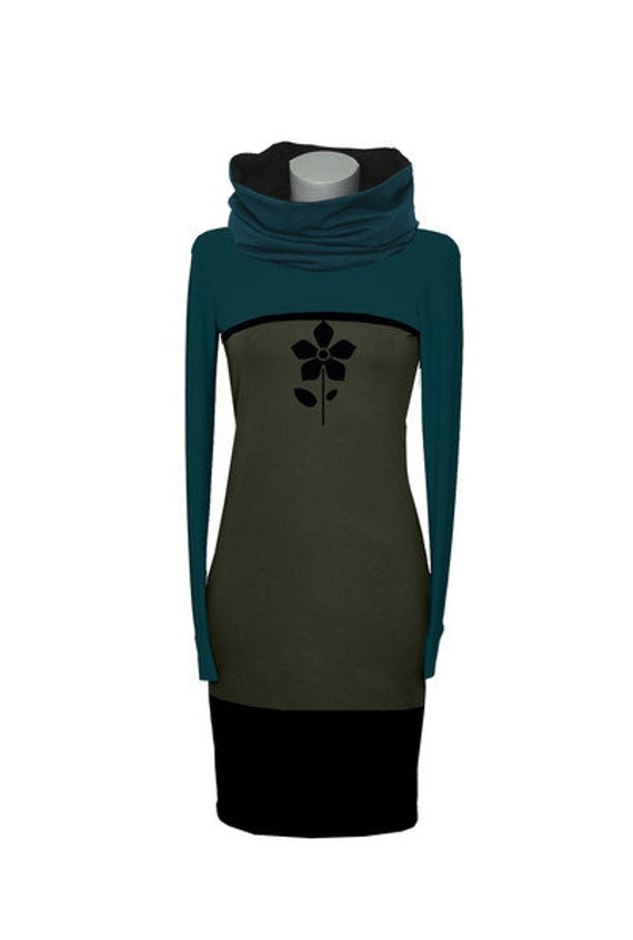 green petrol women BIC7 flower Iza black blue dress Hoodie khaki blue Dress Fabian Green SqxIYzT