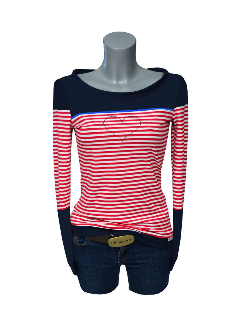 Longsleeve red STRIP3 blue Red stripe long sleeve