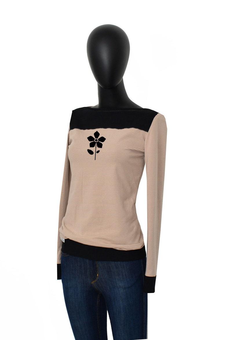 Longsleeve CATS2 Beige Black Stripe shirt