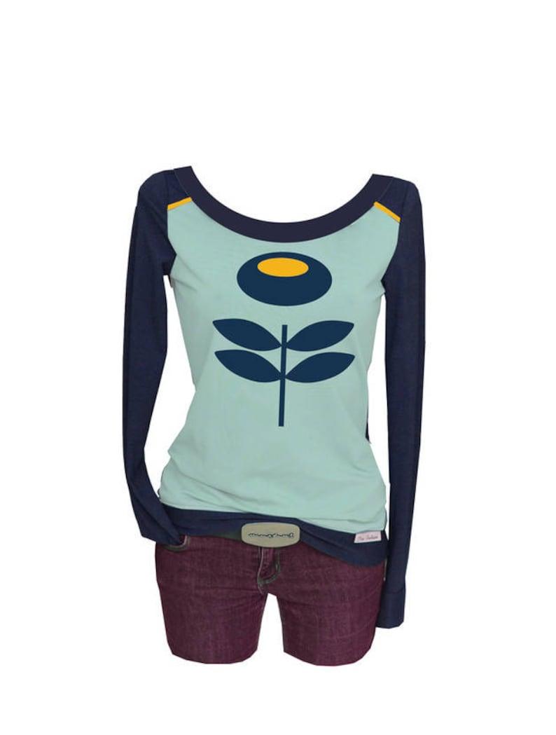 more photos caf6d f0b1a Iza Fabian - Longsleeve RETRO 2 blau blume langarm damen shirt retro damen  women designer tshirt clothes