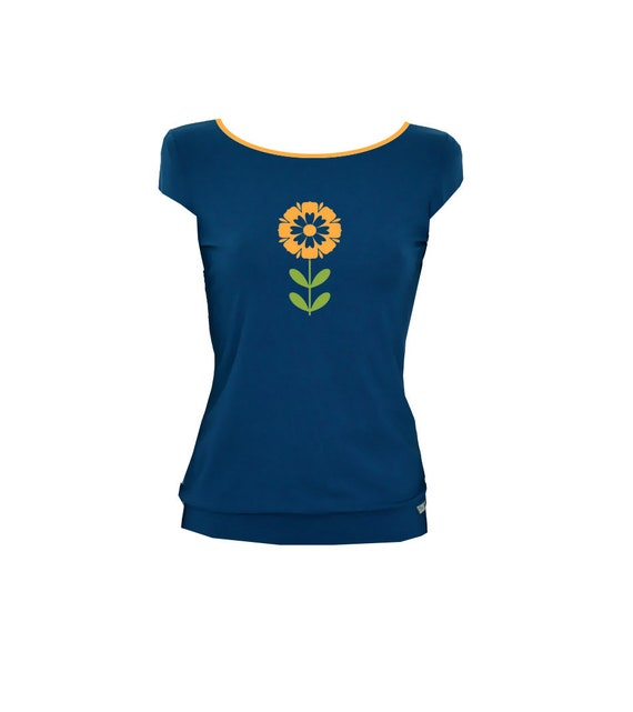 1 petrol colors Shirt flower petrol green yellow 5xa00qw