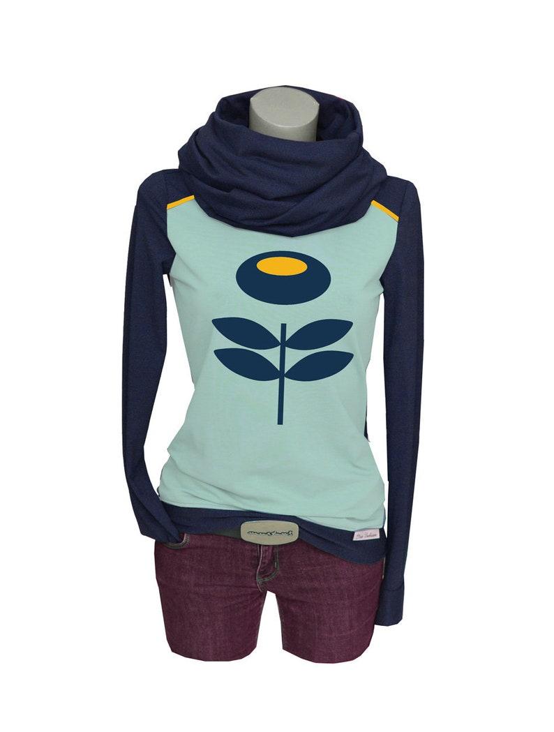 Iza Fabian-Set long sleeve loop-RETRO2-Blue flower longsleeve yellow women blue flower Flower Retro