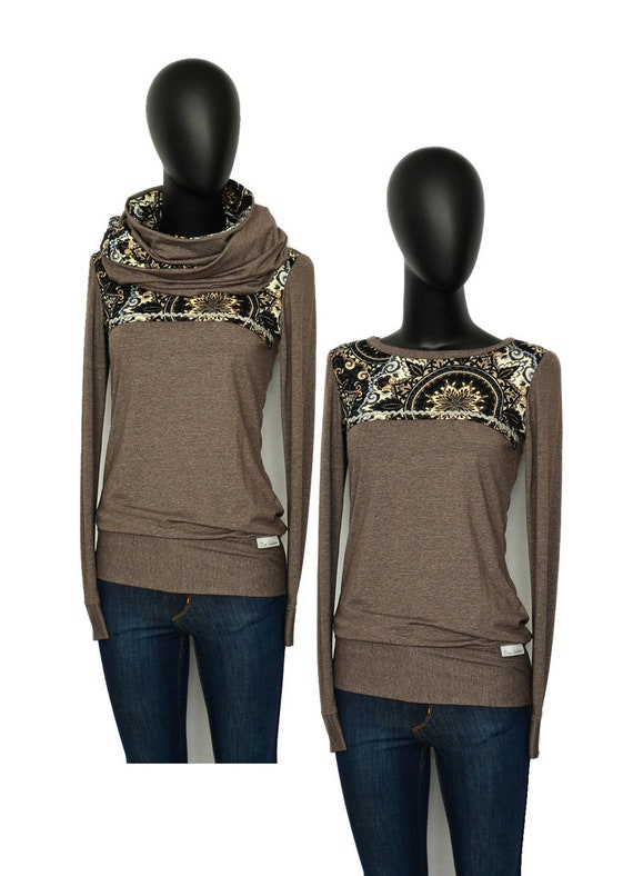 long flower melange Set sleeve flower women Iza Fabian Brown longsleeve sweater Hoodie FTV brown loop shirt women 0qzH7w