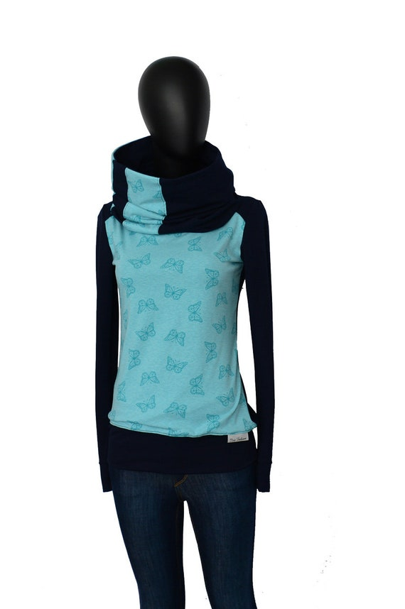 Sleeve women Long butterfly sweater BIC27 Iza Shirt Blue petrol Fabian ladies sweaters l Turquoise Hoodie navy blue 7wZqp