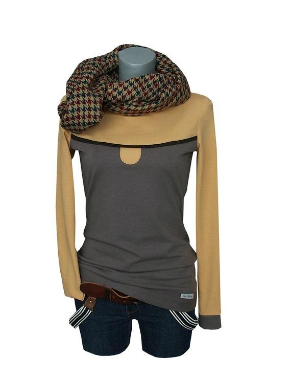 women sleeve shirt GOLD grey yellow Longsleeve long OaqUwzpg