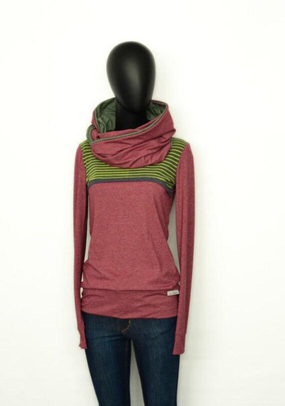 Hoodie Set loop + longsleeve-AMAND2-burgundy red Green green red women women shirt sweater
