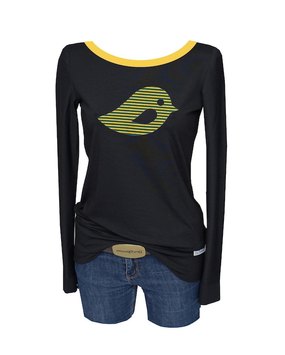 long bird yellow Black black shirt Longsleeve sleeve v7RUwqn07C