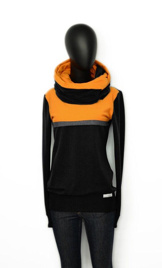 ochre long Hoodie women sleeve CC2 sweater Iza Fabian women black black yellow yellow xP0nq5IwCT