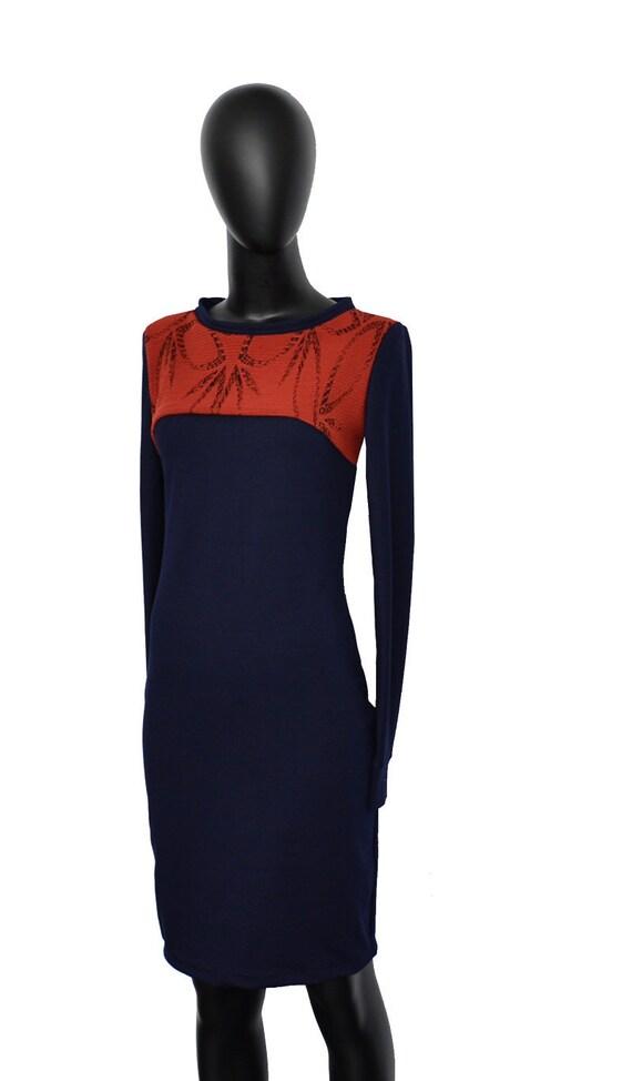 sleeve sleeve rust blue ladies Kaja navy blue dress pattern Fabian long Dresses red Iza dress long 1FxxO