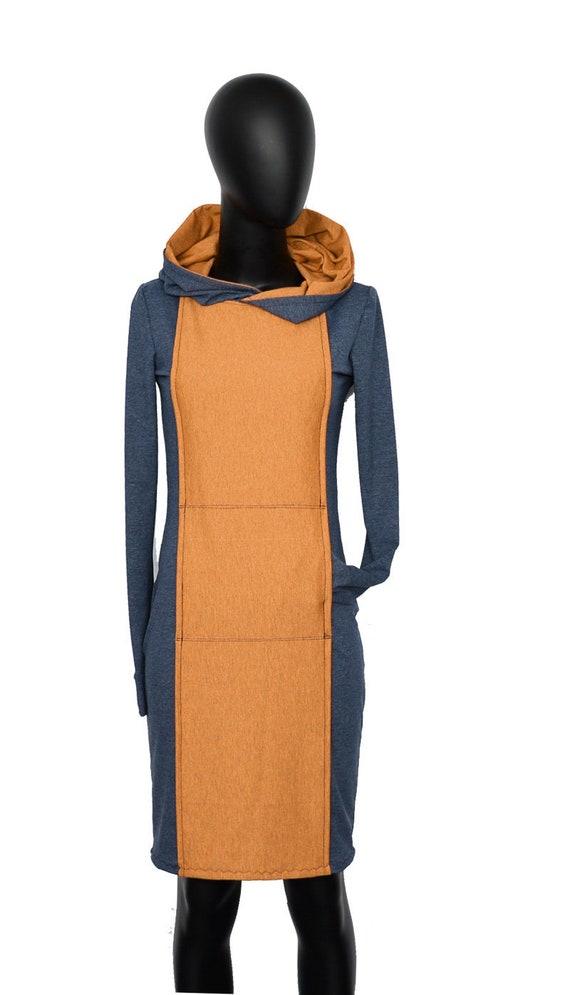 Fabian blau blue Iza yellow dress langarm Kleid ocker Kapuze gelb hoodie AN2 dxwO8r0qw