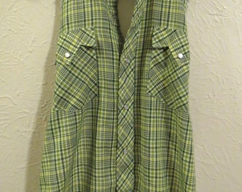 Customized Funky Up-cycled Plaid Shirt Aprons