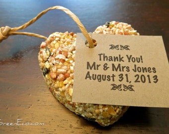 25 Personalized Brown Kraft Tags For Bird Seed Favours