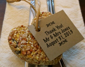 250 Personalized Brown Kraft Tags For Bird Seed Favours