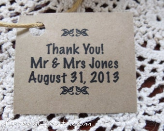 50 Personalized Brown Kraft Tags For Bird Seed Favours