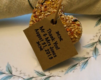 150 Personalized Brown Kraft Tags For Bird Seed Favours
