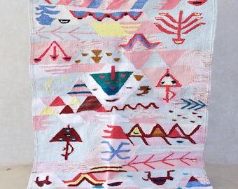 BOUCHEROUITE. Vintage Moroccan Rug. Wool Boucherouite Carpet. Modern Design.