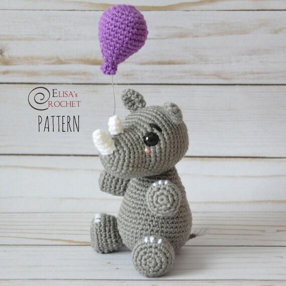 CROCHET PATTERN Baby Rhino with Balloon Amigurumi doll / | Etsy