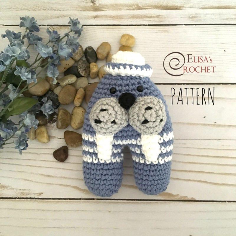 Crochet Pattern Amigurumi Walrus Rattle Toy Newborn Gift Etsy