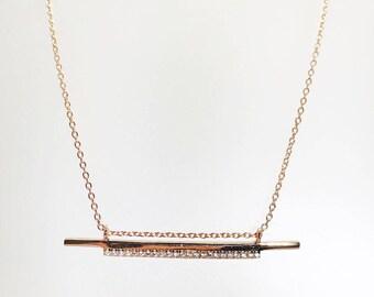 Double Bar Cz Pendant Necklace