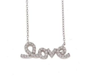 CZ LOVE Silver Necklace