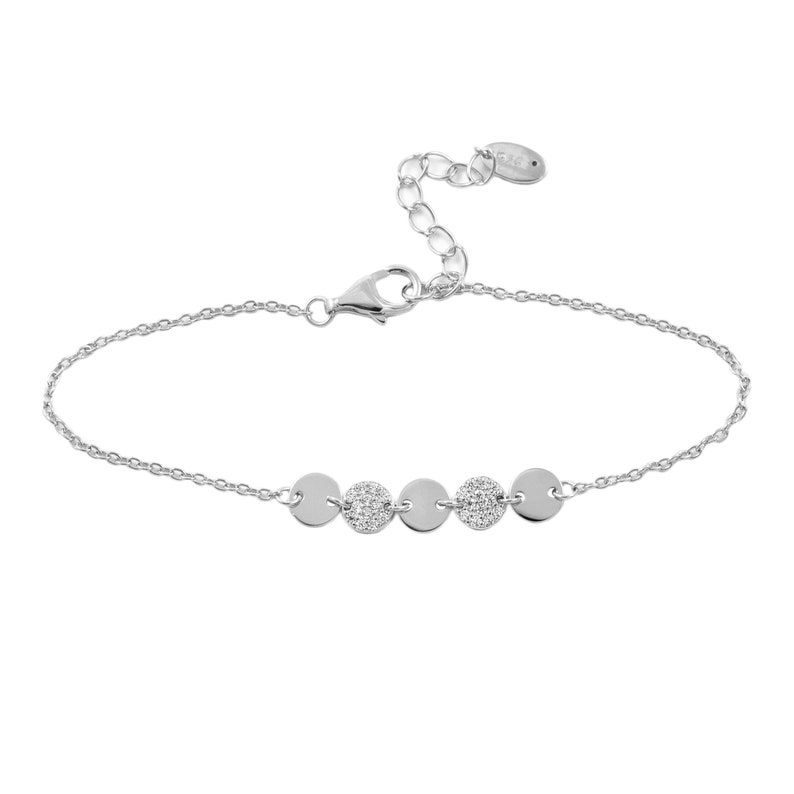925 White Gold IP Sterling Silver Five Circles with CZ Stones Charm  Bracelet 6