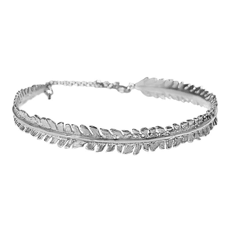 925 White Gold IP Sterling Silver Fern Leaf Bracelet 6 5