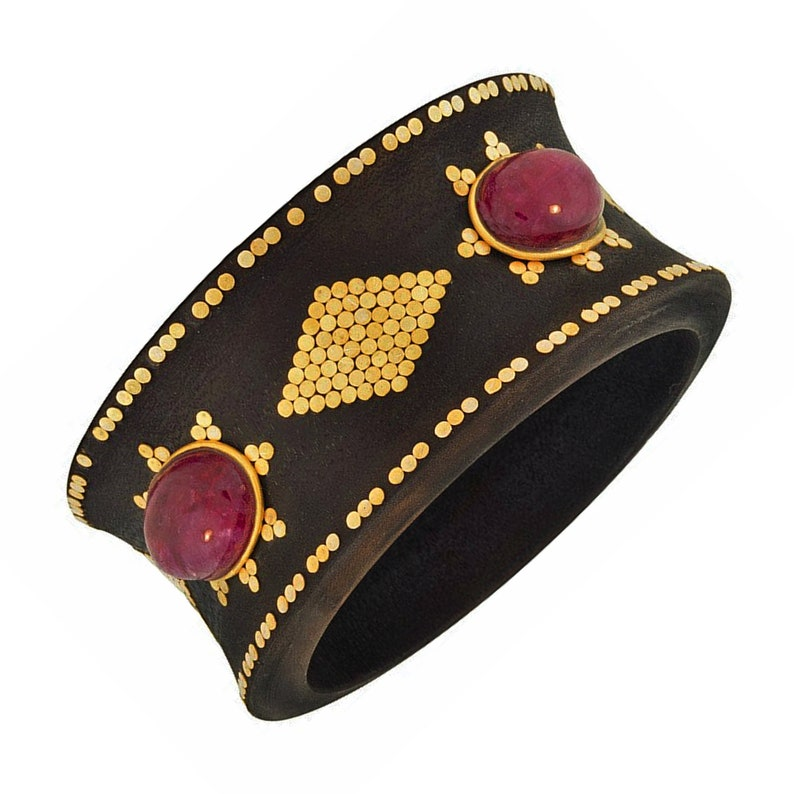 925 Gold Plated Sterling Silver Glitz Accent with Cabochon Red Ropada Stones Wood Tribal Bangle