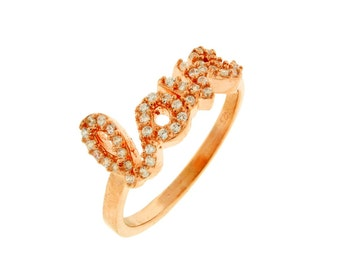 CZ LOVE Rose Gold Ring