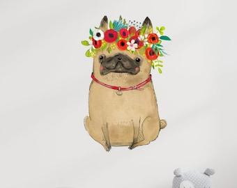Pug Wall Decal Etsy